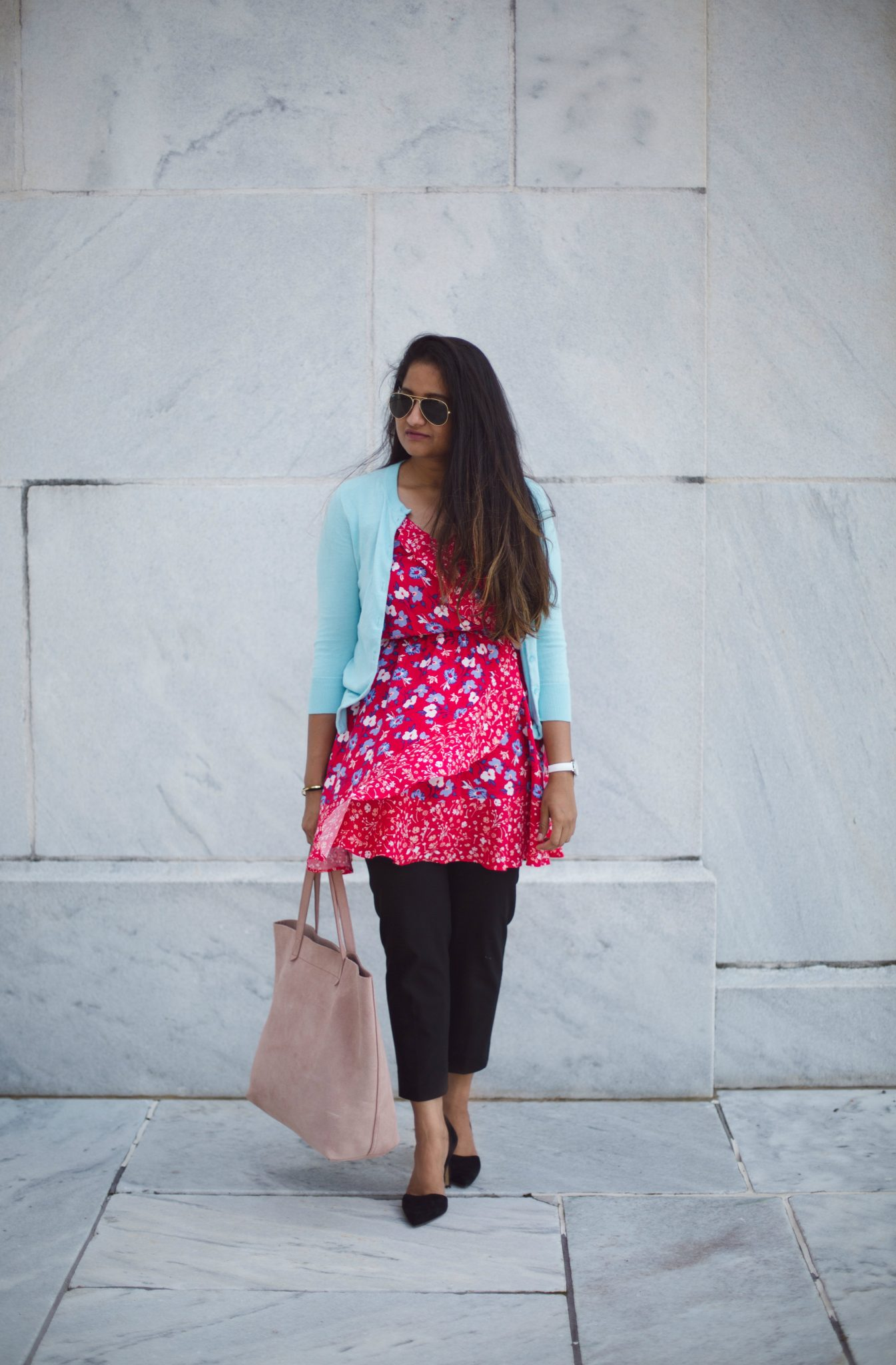 how-to-wear-light-blue-cardigan-to-work-in-5-ways-by-dreaming-loud-2 - J.Crew factory light blue cardigan styled by popular Ohio modest fashion blogger, Dreaming Loud