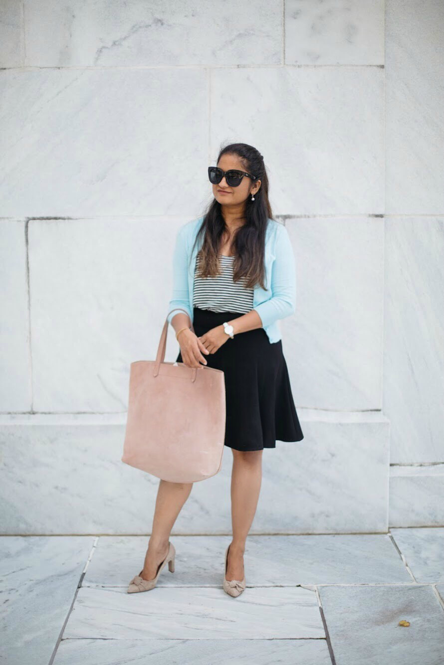 how-to-wear-light-blue-cardigan-with-black-and-stripes-by-dreaming-loud-5-2 - J.Crew factory light blue cardigan styled by popular Ohio modest fashion blogger, Dreaming Loud