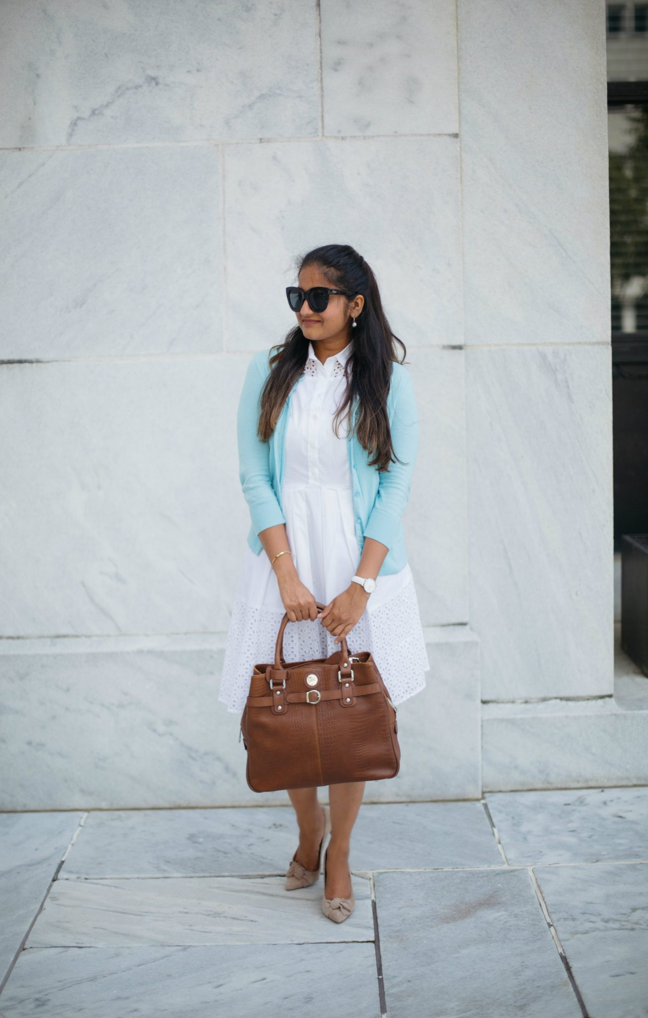 how-to-wear-light-blue-cardigan-with-white-to-work-by-dreaming-loud-6 - J.Crew factory light blue cardigan styled by popular Ohio modest fashion blogger, Dreaming Loud
