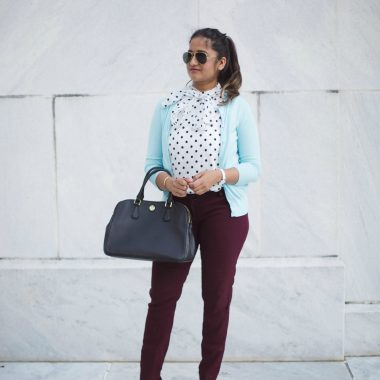 how-to-wear-light-blue-cardigan-to-work-in-5-ways-by-dreaming-loud-8 - J.Crew factory light blue cardigan styled by popular Ohio modest fashion blogger, Dreaming Loud