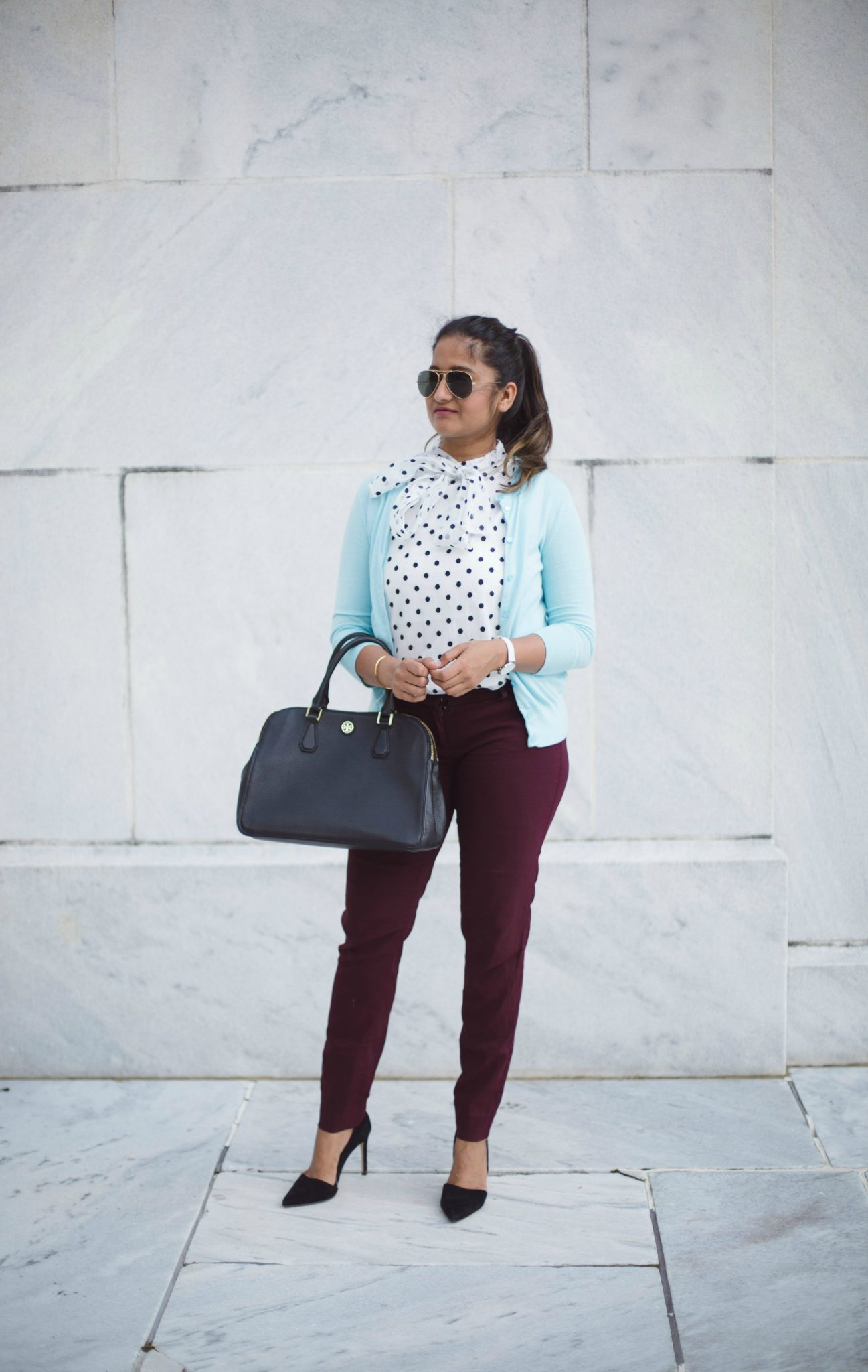 how-to-wear-light-blue-cardigan-with-polka-dot-and-burgundy-by-dreaming-loud-8 - J.Crew factory light blue cardigan styled by popular Ohio modest fashion blogger, Dreaming Loud