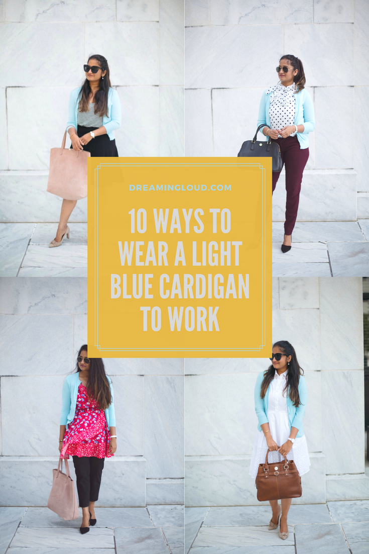 how-to-wear-light-blue-cardigan-to-work-in-5-ways-by-dreaming-loud - J.Crew factory light blue cardigan styled by popular Ohio modest fashion blogger, Dreaming Loud
