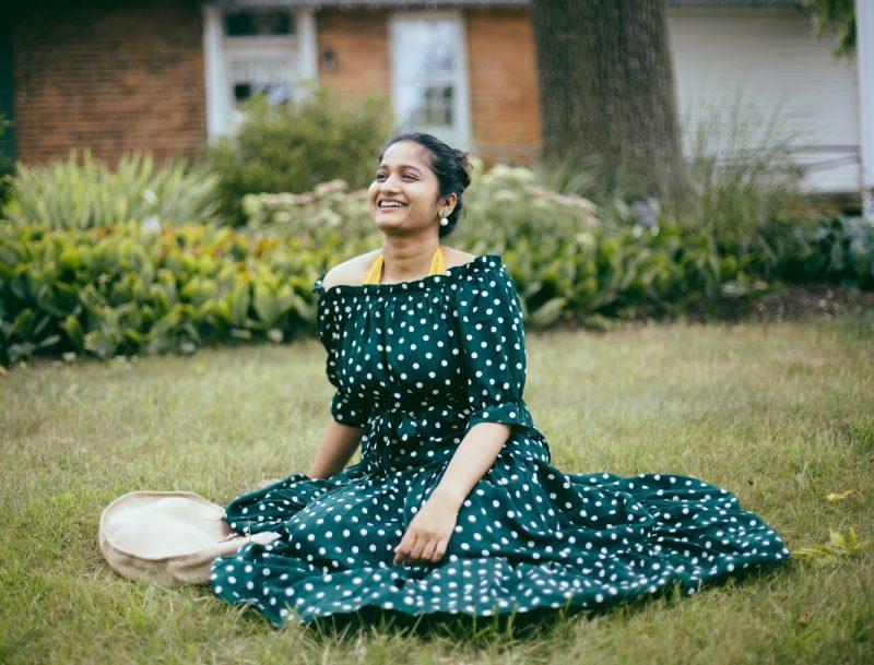 lifestyle-blogger-surekha-of-dreaming-loud-wearing-Shein-Polka-Dot Bardot-Neckline-Tie-Waist-Dress-2