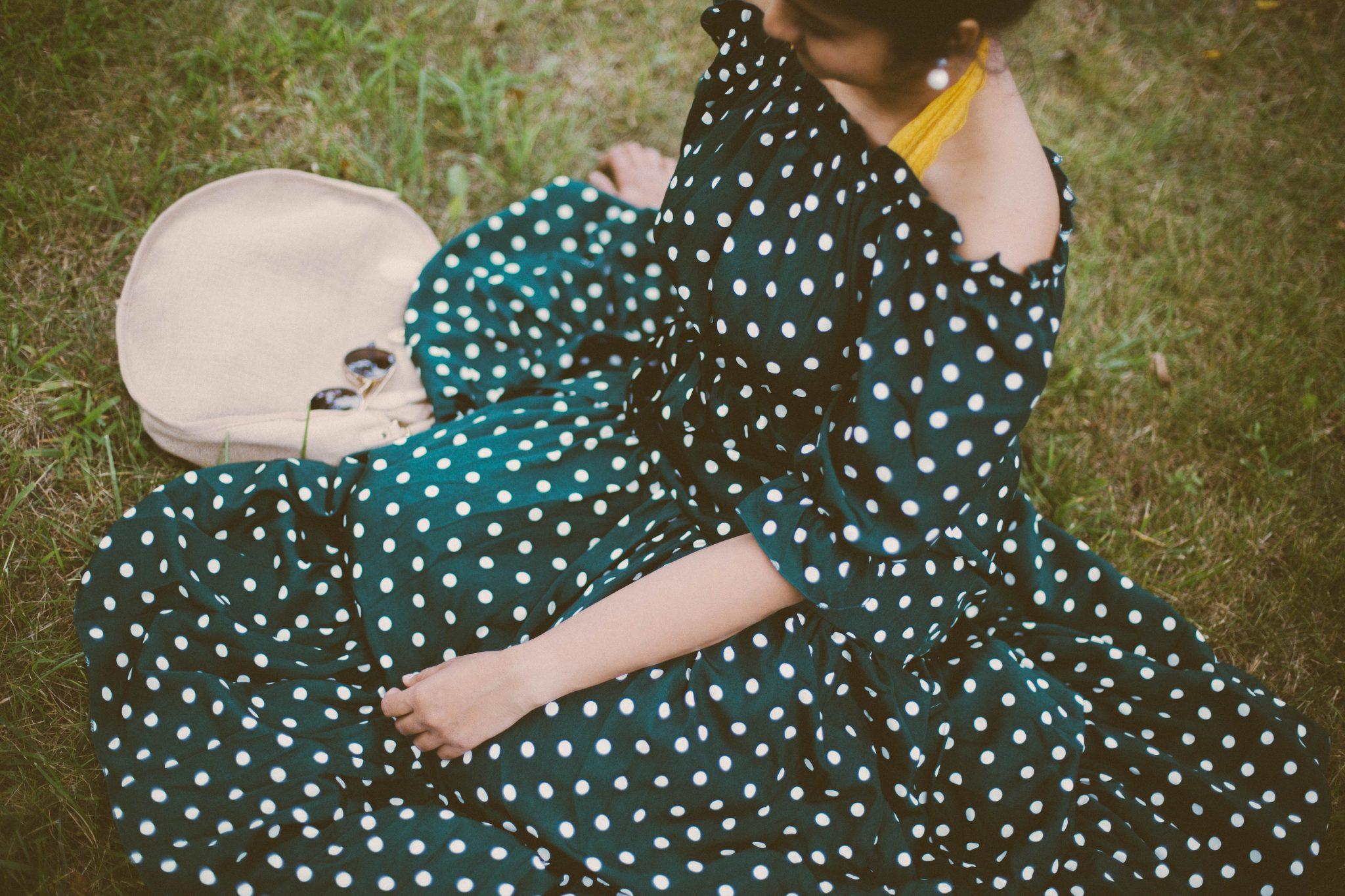 lifestyle-blogger-surekha-of-dreaming-loud-wearing-Shein-Polka-Dot Bardot-Neckline-Tie-Waist-Dress-green