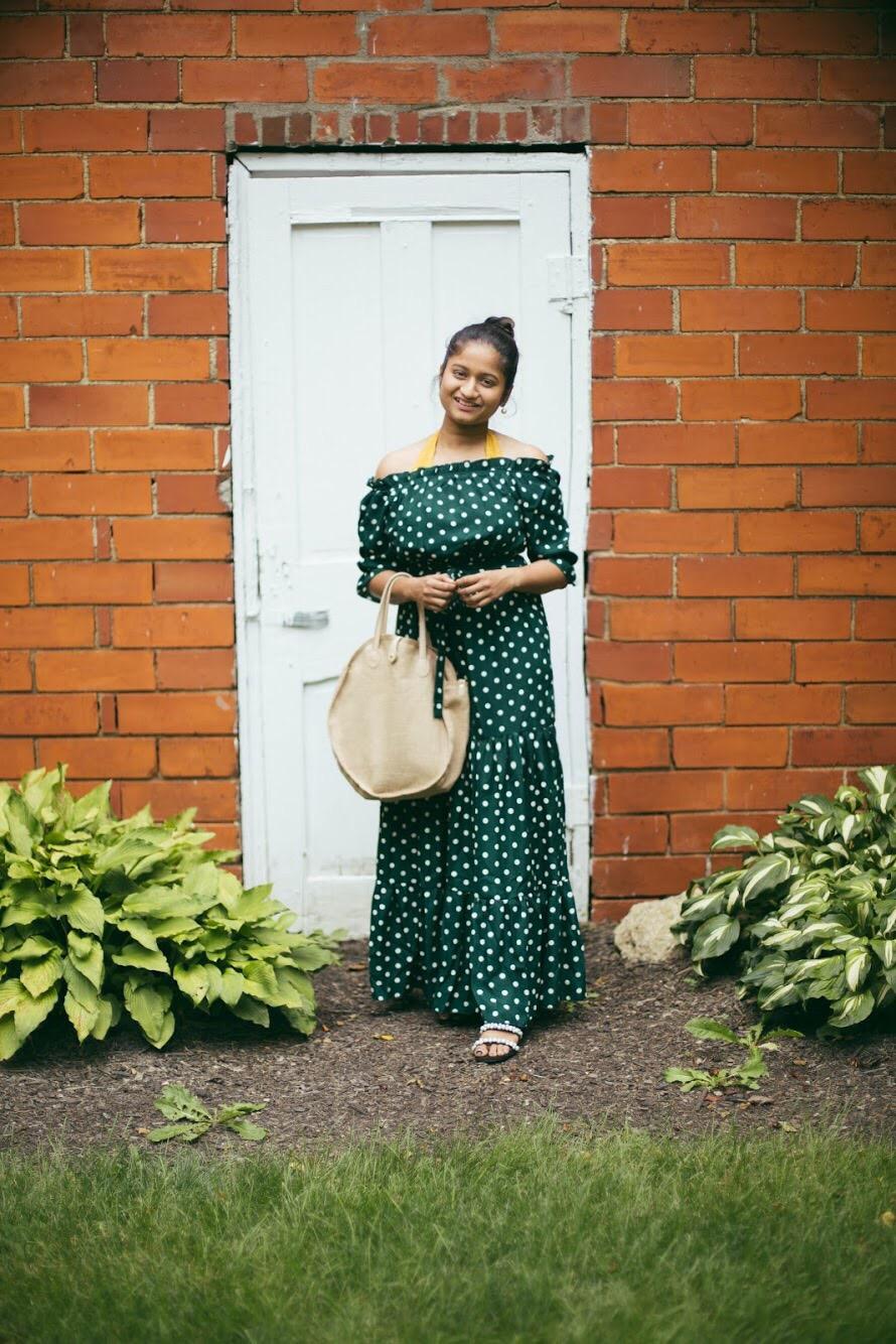 lifestyle-blogger-surekha-of-dreaming-loud-wearing-Shein-Polka-Dot Bardot-Neckline-Tie-Waist-Dress