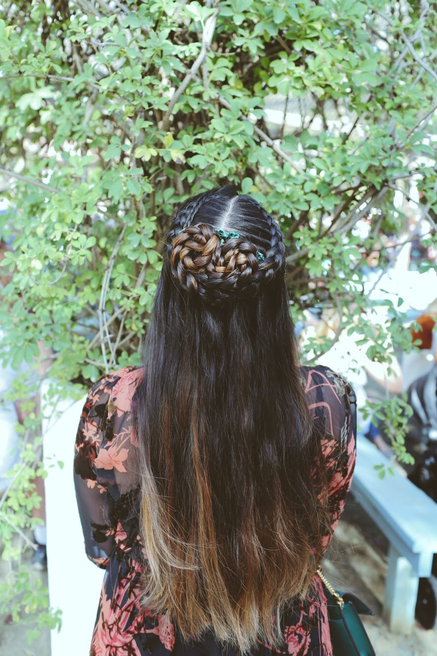 Lifestyle Blogger Surekha of Dreaming Loud Wearing Dutch Cascade braid hairstyle | Zara Floral Velvet Midi Dress featured by popular Ohio modest fashion blogger, Dreaming Loud