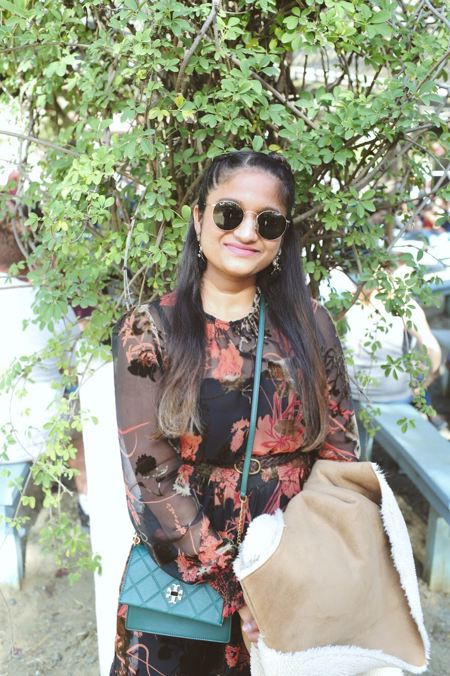 Lifestyle Blogger Surekha of Dreaming Loud Wearing GEORGIA TURN-LOCK MINI BAG in Malachite | Zara Floral Velvet Midi Dress featured by popular Ohio modest fashion blogger, Dreaming Loud