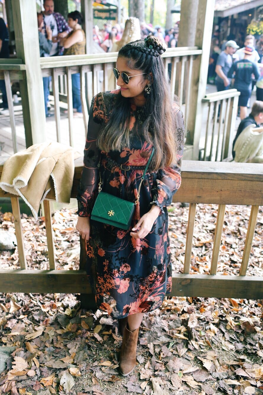 Lifestyle Blogger Surekha of Dreaming Loud Wearing Zara velvet floral midi dress with elastic waist 1 | Zara Floral Velvet Midi Dress featured by popular Ohio modest fashion blogger, Dreaming Loud