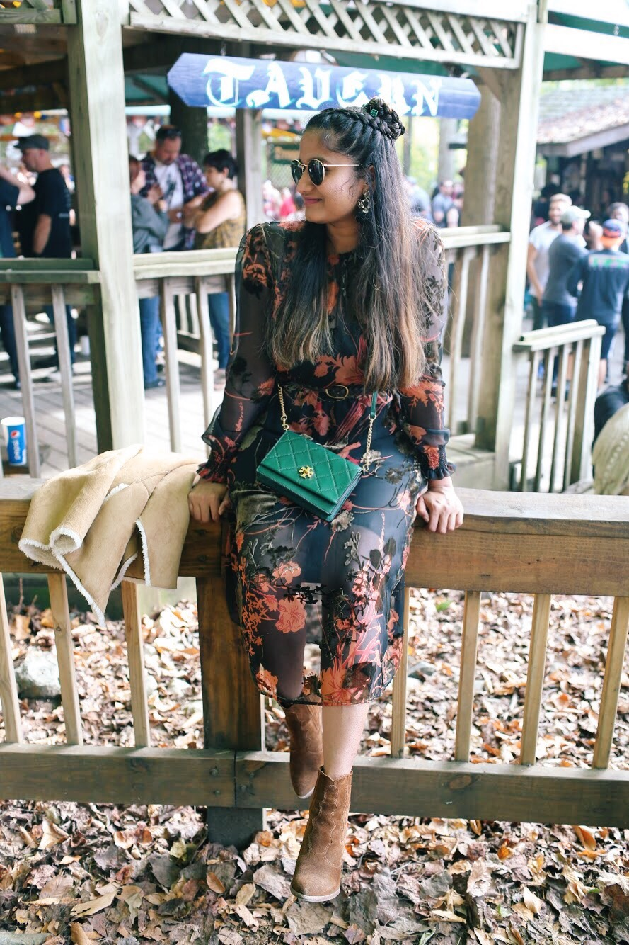 Lifestyle Blogger Surekha of Dreaming Loud Wearing Zara velvet floral midi dress with elastic waist2 | Zara Floral Velvet Midi Dress featured by popular Ohio modest fashion blogger, Dreaming Loud