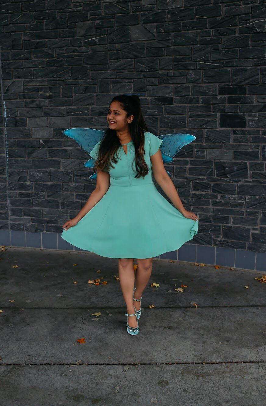 Lifestyle Blogger Surekha of Dreaming Loud sharing Disney Fairy Tinker Bell Halloween costume