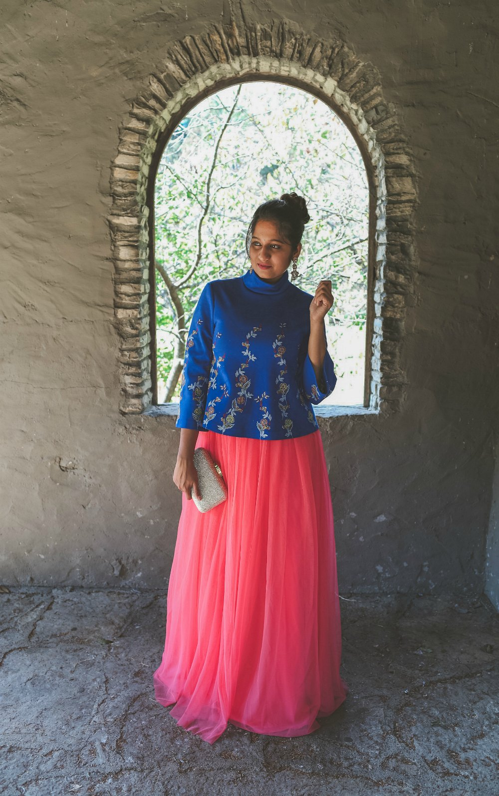 Lifestyle Blogger Surekha of Dreaming Loud sharing Diwali Indian fusion outfit with tulle skirt2| Diwali outfit with an ASOS pink tulle maxi skirt styled by popular Ohio modest fashion blogger, Dreaming Loud
