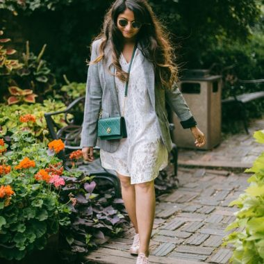 Lifestyle Blogger Surekha of Dreaming Loud wearing Target A new day Plaid boyfriend blazer