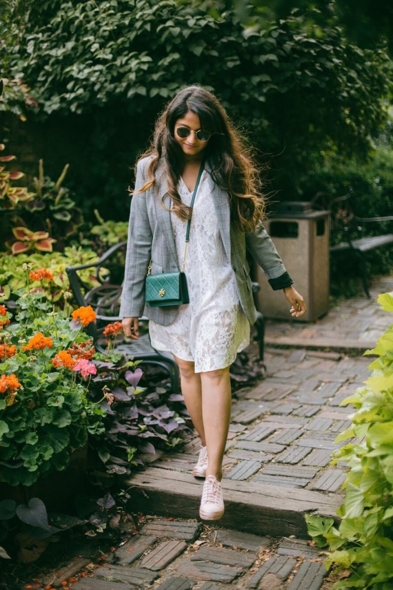 Lifestyle Blogger Surekha of Dreaming Loud wearing Target A new day Plaid boyfriend blazer