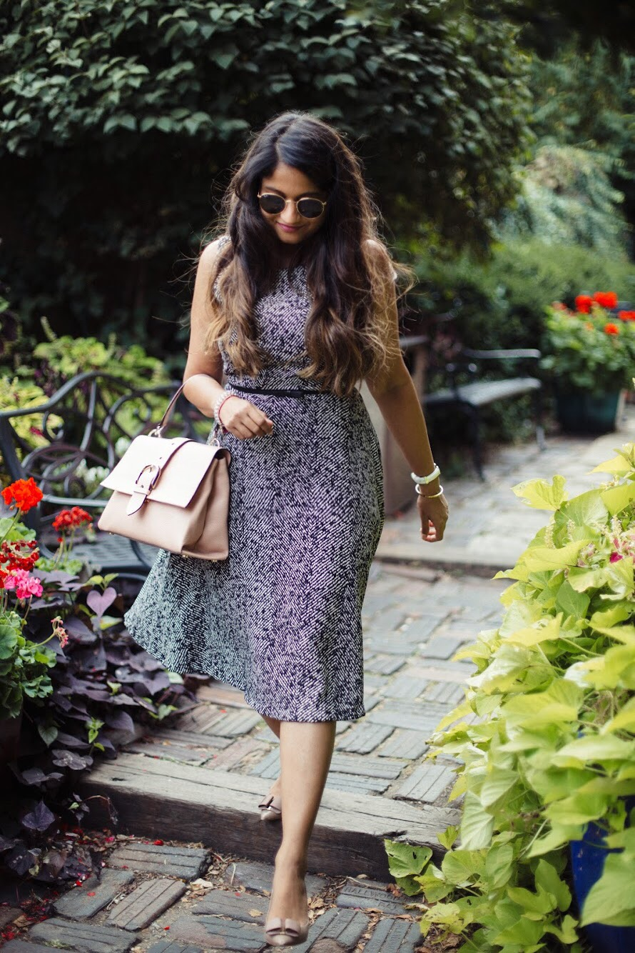 Lifestyle-Blogger-Surekha-of-dreaming-loud-wearing-Letote- PHILOSOPHY-Herringbone-Dress