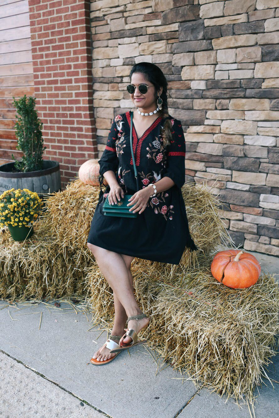 Lifestyle Blogger Surekha of Dreaming Loud Sharing indo western Diwali outfit ideas | fall accessories featured by popular US modest fashion blogger, Dreaming Loud