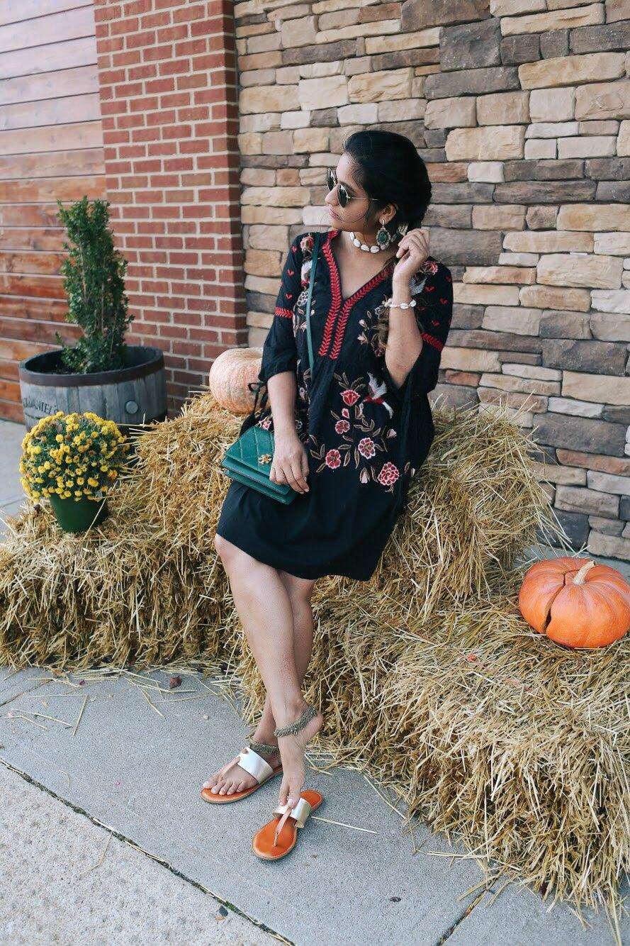 Lifestyle Blogger Surekha of Dreaming Loud Wearing River Island Embroidered Kimono Sleeve Dress