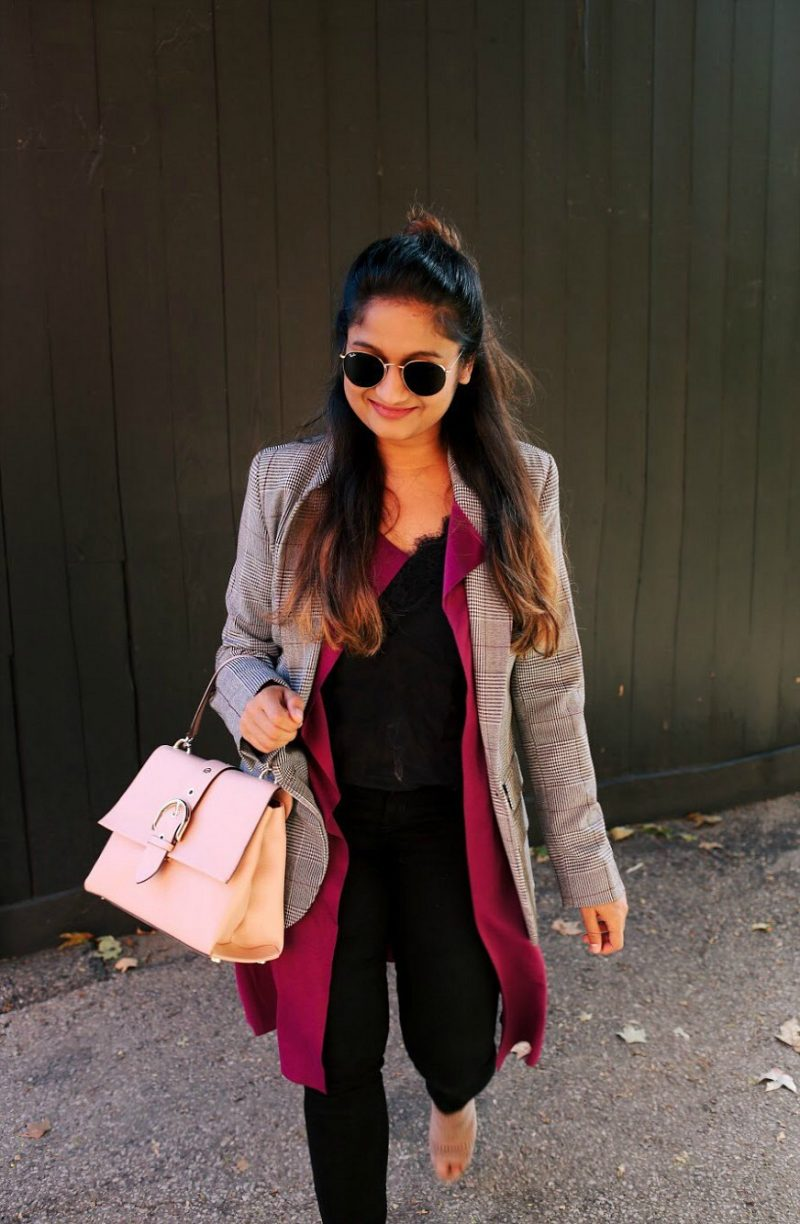 Lifestyle blogger Suri of Dreaming Loud layering Target A new day plaid boyfriend blazer