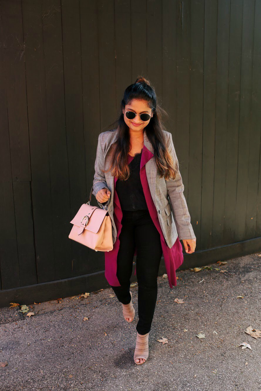 Lifestyle blogger Surekha of Dreaming Loud layering blazer over sleeveless trench or duster1 - 10 Ways to Wear a Plaid Blazer featured by popular Ohio modest fashion blogger, Dreaming Loud