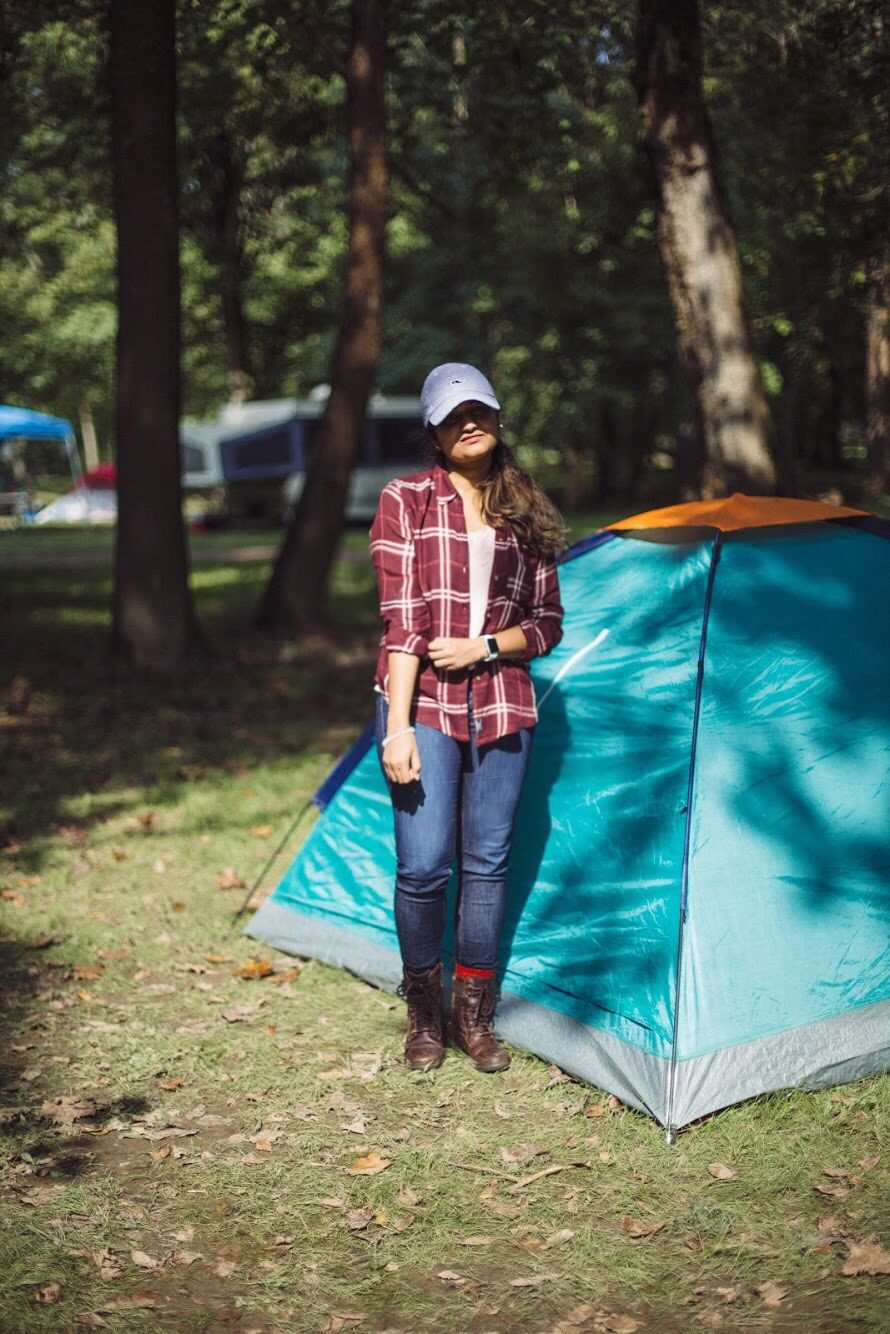 Lifestyle blogger Surekha of Dreaming Loud sharing what to wear to a camping trip in fall1 - Fall Camping Checklist featured by popular Ohio lifestyle blogger, Dreaming Loud
