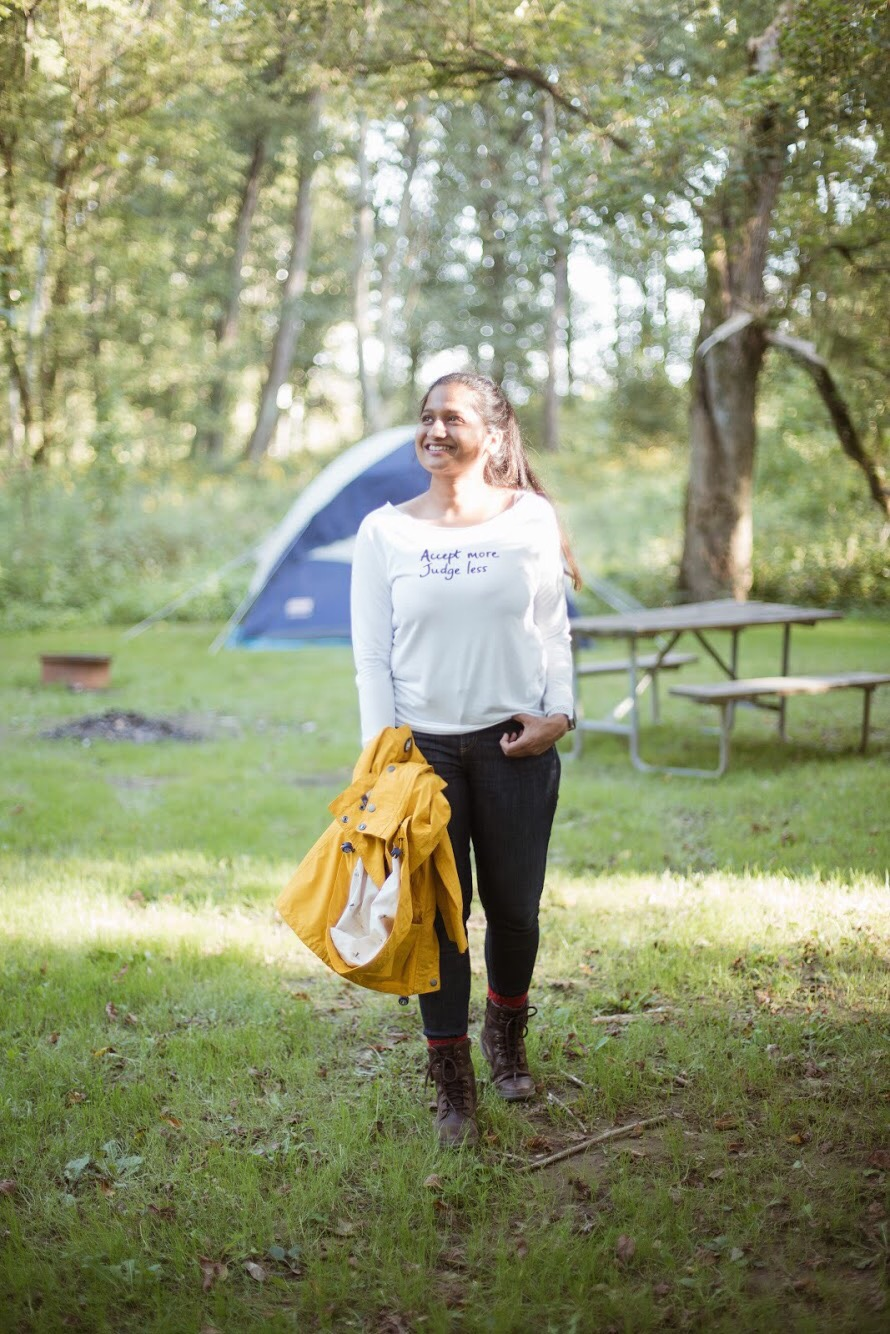 Lifestyle blogger Surekha of Dreaming Loud wearing Barbour waterproof rain jacket - Fall Camping Checklist featured by popular Ohio lifestyle blogger, Dreaming Loud
