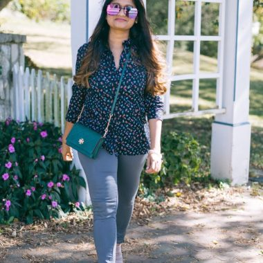 Lifestyle blogger Suri of Dreaming loud wearing old navy floral Printed Shirt