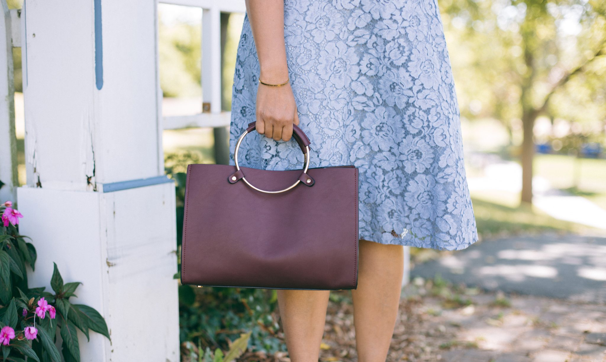Lifestyle blogger Surekha of dreaming loud wearing Mango Metallic handle shoulder bag in burgundy 1 - Know Your Worth! featured by popular Ohio lifestyle blogger, Dreaming Loud