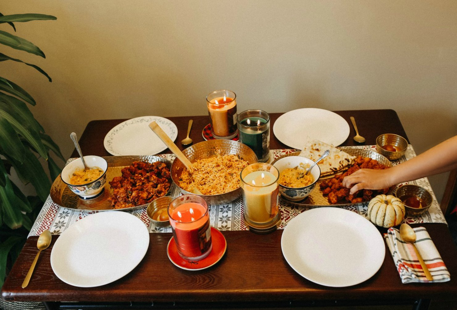 Indian Vegetarian Thanksgiving Tablespace with Chesapeake Bay Candles