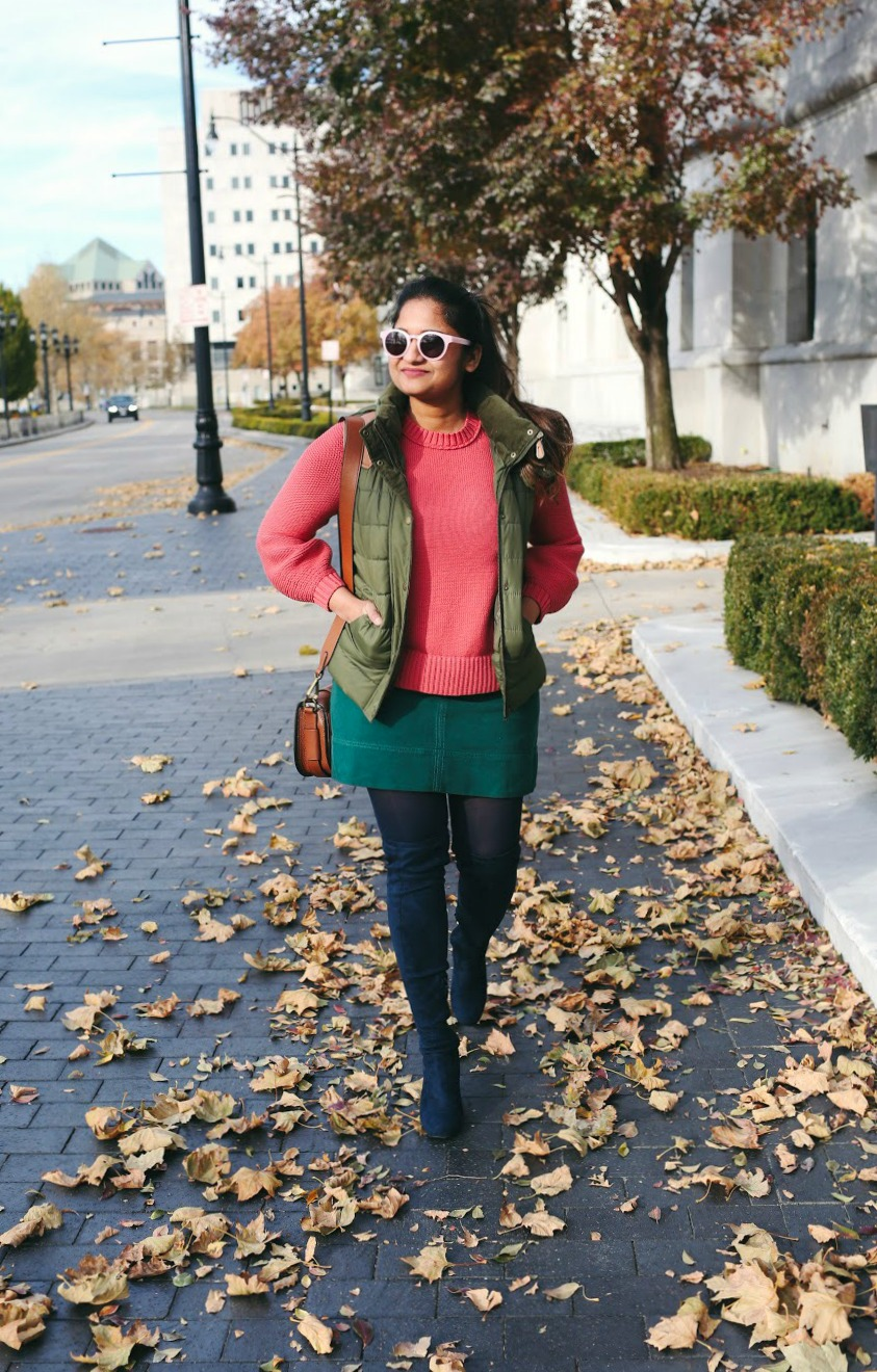 Lifestyle Blogger Surekha of Dreaming Loud Wearing Loft Textured Blouson Sleeve Sweater