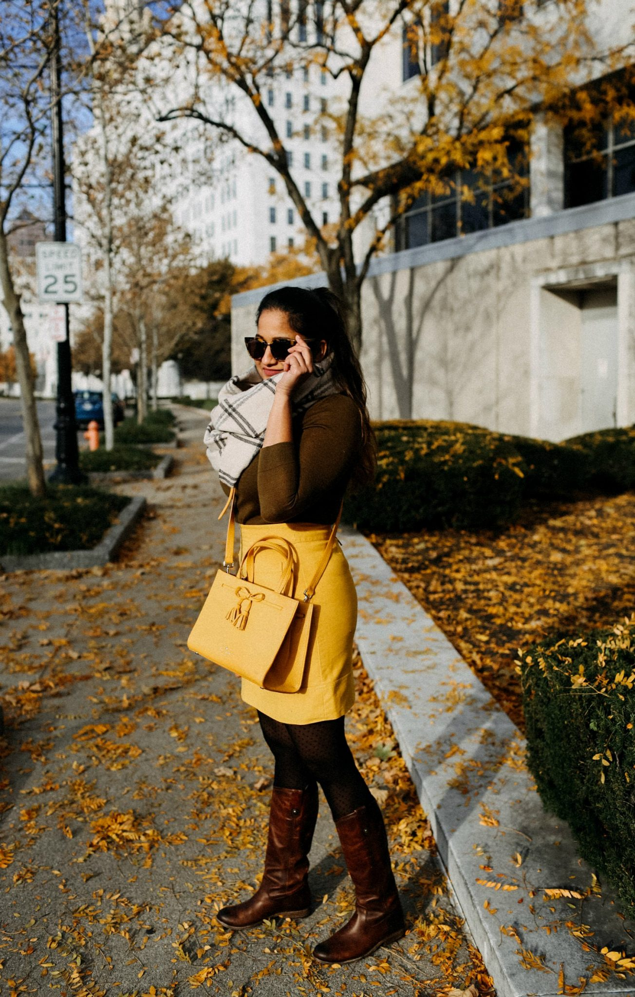 Lifestyle blogger Surekha of Dreaming Loud wearing Sharing Colorful Thanksgiving outfit ideas