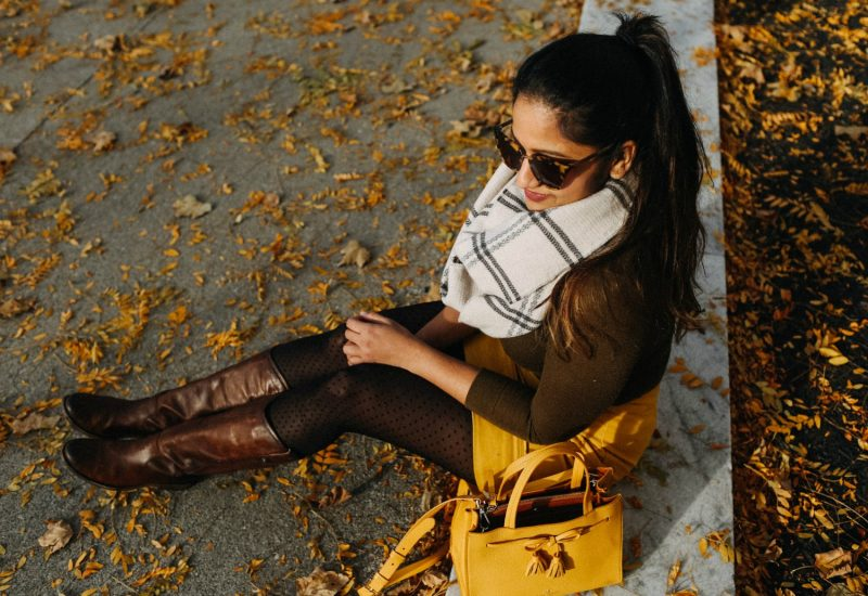 Life style blogger Suri of Dreaming Loud wearing Boden Dorchester Suede Skirt in Saffron