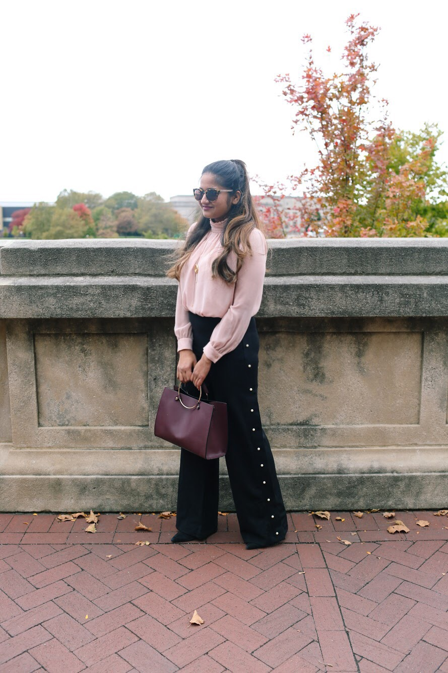 Lifestyle Blogger Surekha of Dreaming Loud Sharing H&M pearl Embellished beaded pant