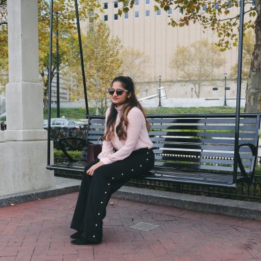 Lifestyle Blogger Suri of Dreaming Loud Sharing how to wear Pearl Embellishment Fall Trend 2017