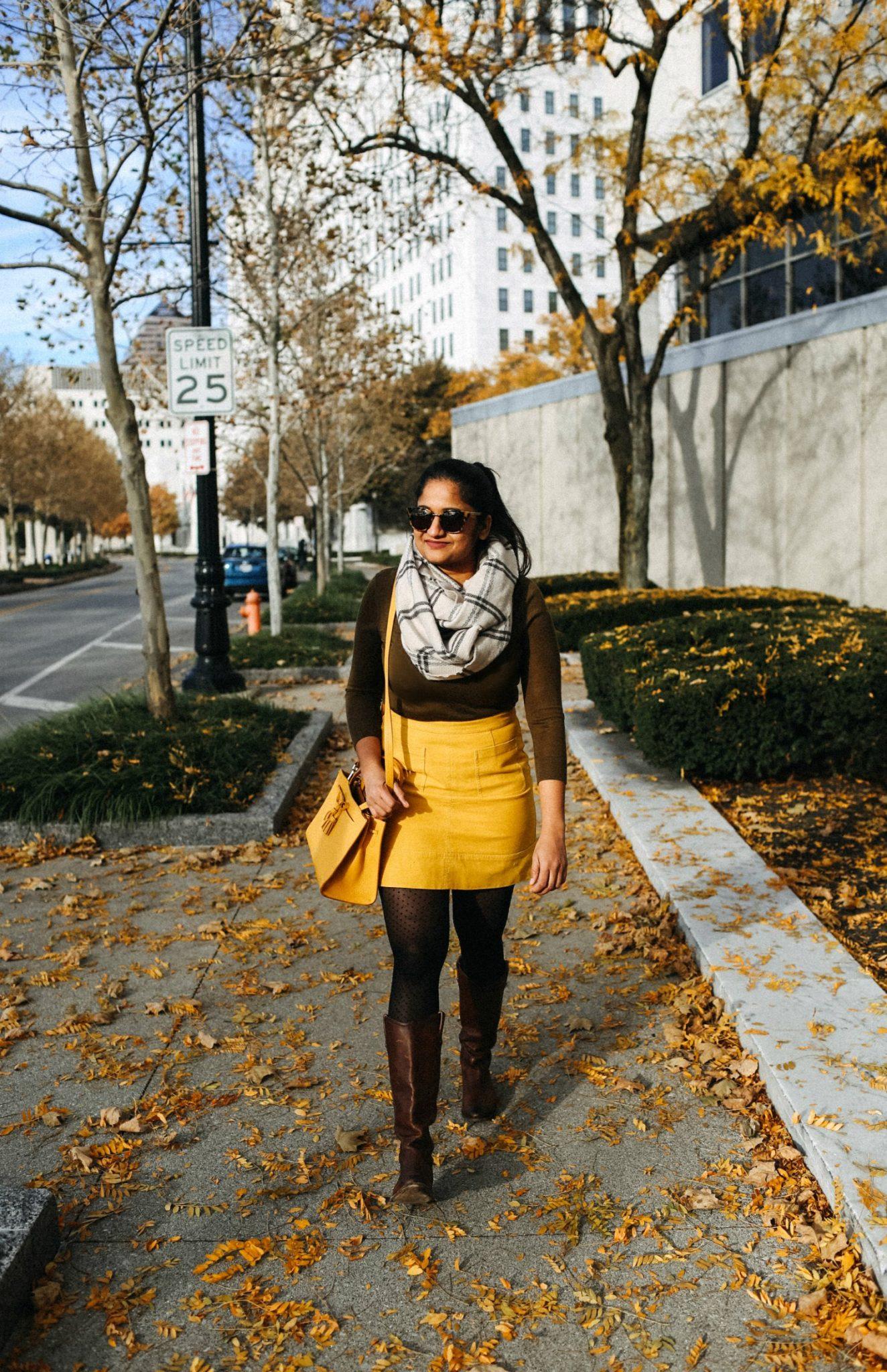 9a6d5cb144 ... Lifestyle blogger Surekha of dreaming loud wearing Boden Dorchester  suede Skirt in saffron