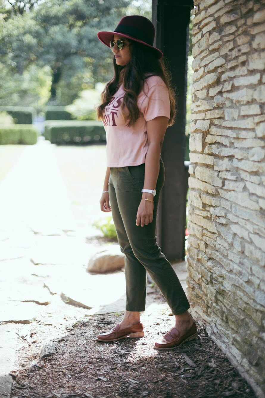 Lifestyle blogger Surekha of dreaming loud wearing GH Bass Penny Loafers in Cognac