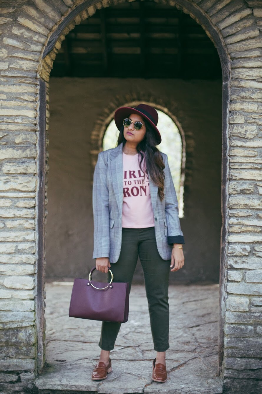 Lifestyle blogger Surekha of dreaming loud wearing Khaki chinos with plaid blazer and burgundy hat