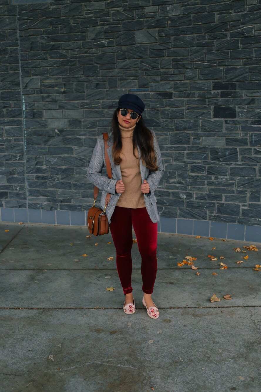 lifestyle blogger Surekha of Dreaming Loud sharing colorful Thanksgiving outfit ideas burgundy and blue