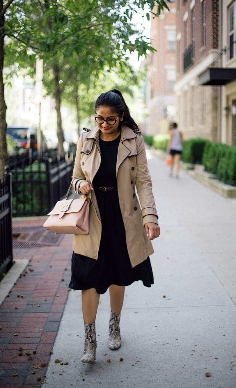 Free People Cecile Ankle Boot-lifestyle blogger Suri of dreaming loud wearing black fit and flare dress with trench coat - Must Have Spring & Summer Lightweight Jackets featured by popular Ohio modest fashion blogger, Dreaming Loud