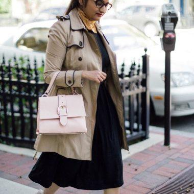 lifestyle blogger Suri of dreaming loud wearing henri bendel riverside top handle satchel