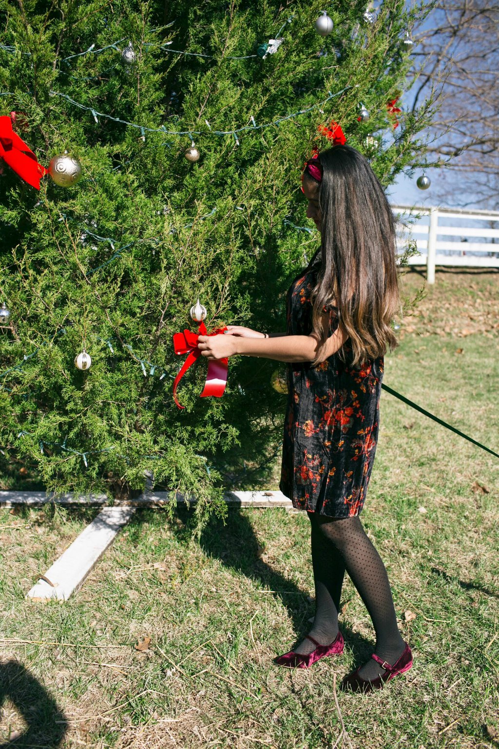 The Coralie Mary Jane Flat in Pinot Nior | Christmas tree decorating | Holiday Velvet Floral Dress featured by top Ohio modest fashion blog Dreaming Loud