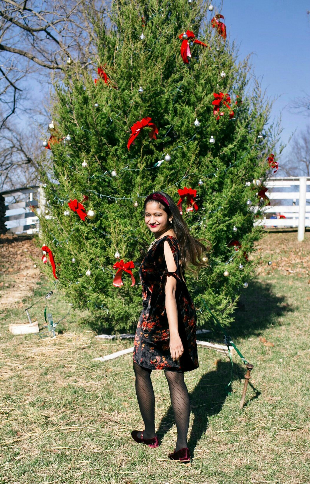 Coralie Mary Jane Flat in pinot noir | Christmas tree decorating | Holiday Velvet Floral Dress featured by top Ohio modest fashion blog Dreaming Loud