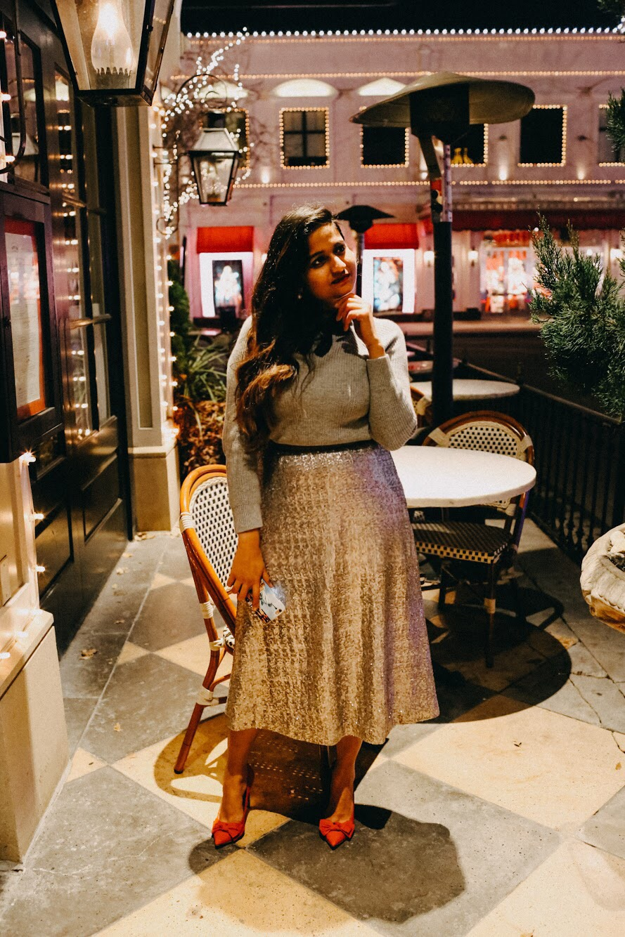 Boden | Holiday Gold Sequin Skirt featured by top Ohio modest fashion blog Dreaming Loud