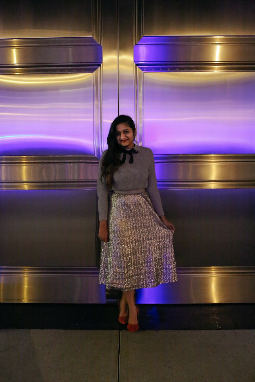Boden Drapey Sequin silver Skirt | Boden | Holiday Gold Sequin Skirt featured by top Ohio modest fashion blog Dreaming Loud