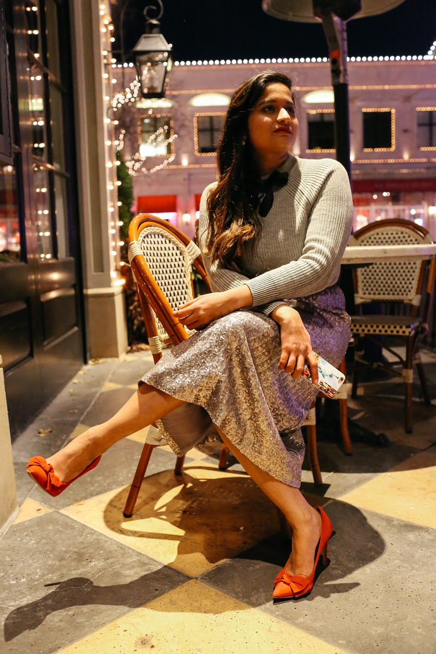Red bow pumps | Boden | Holiday Gold Sequin Skirt featured by top Ohio modest fashion blog Dreaming Loud