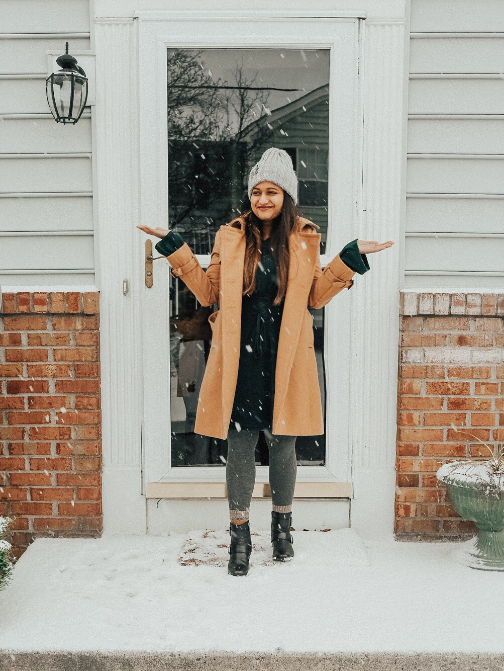 Lifestyle blog Dreaming Loud Wearing Express Corset Waist Sweater Dress in Amazon green