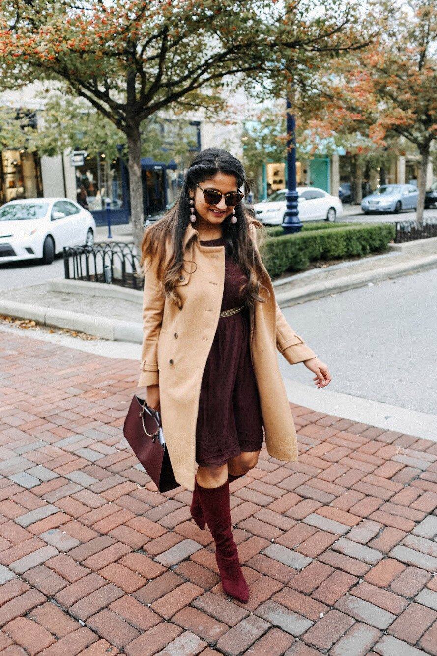 Lifestyle blogger Surekha of dreaming loud Sharing color crush- favorite burgundy items fall 2017