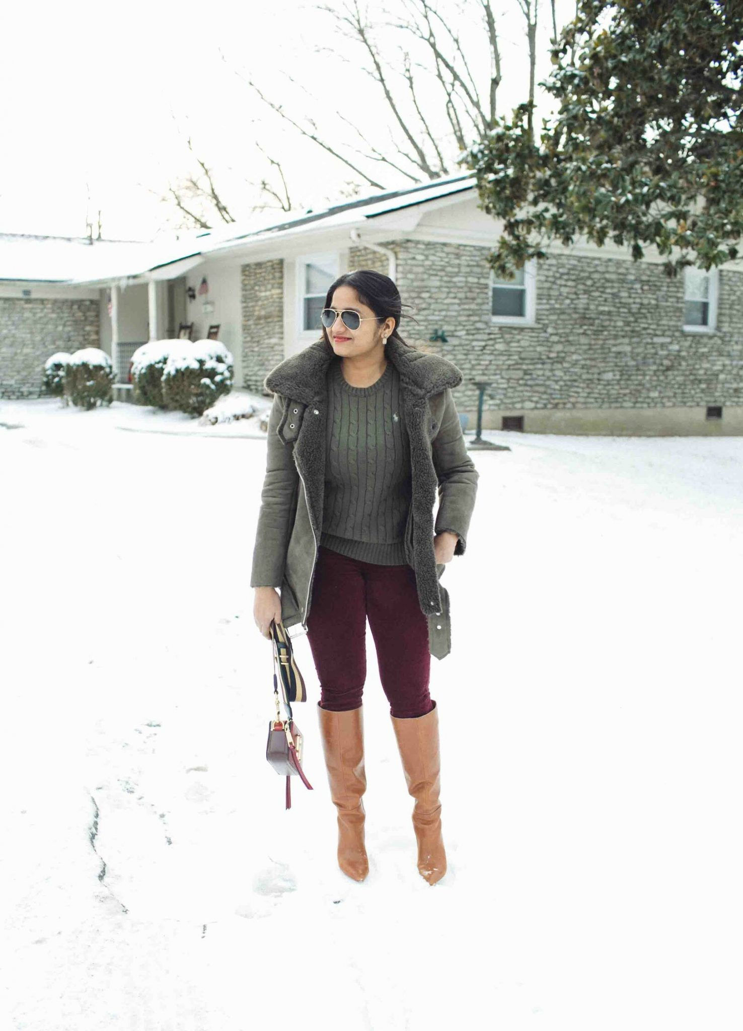 Lifestyle Blog Dreaming Loud wearing J.O.A. Faux Shearling Biker Jacket in olive