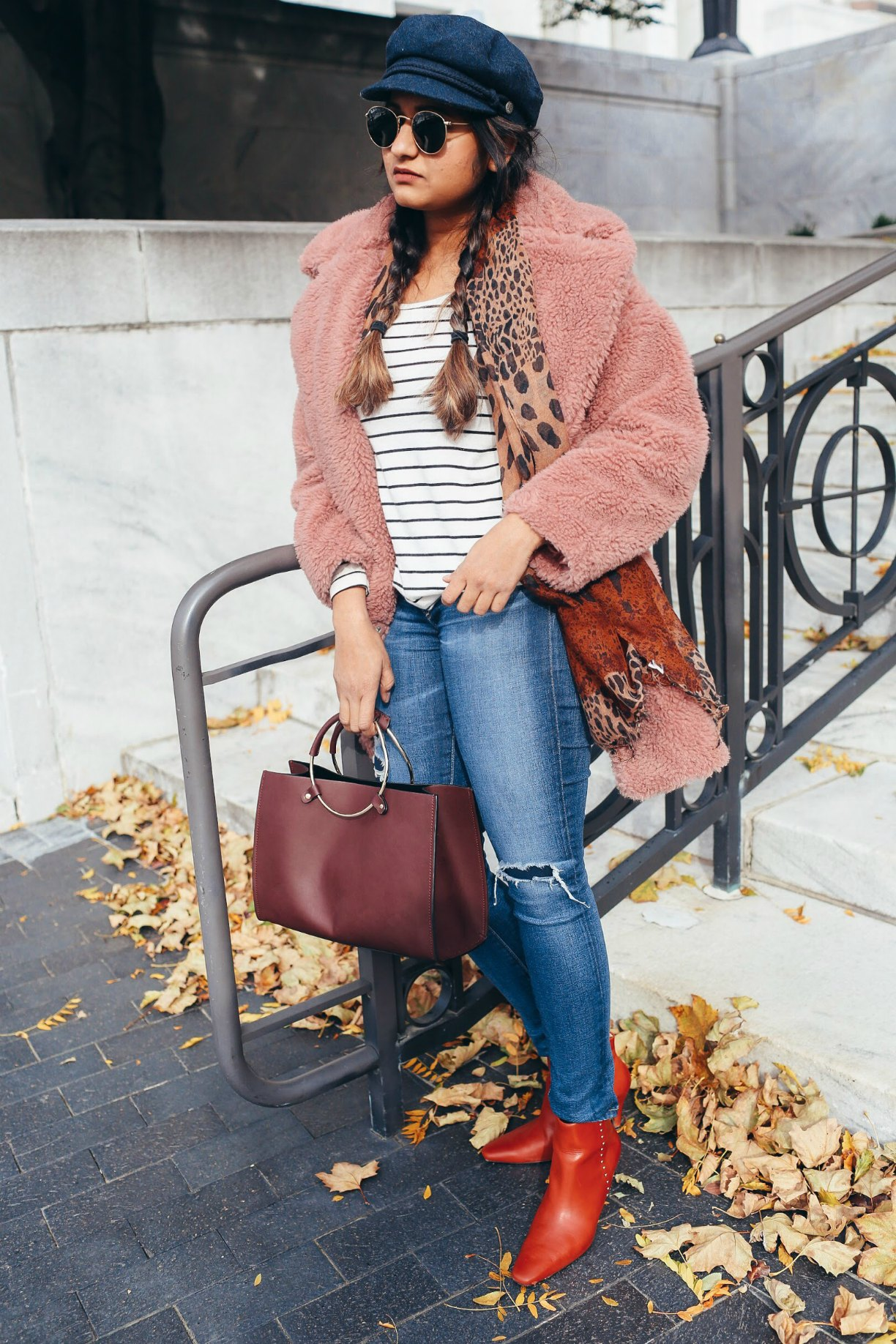 Lifestyle Blogger Surekha of Dreaming Loud Wearing Zara HIGH HEEL LEATHER ANKLE BOOTS WITH STUDS - Top Winter Coat Trends featured by popular Ohio modest fashion blogger, Dreaming Loud