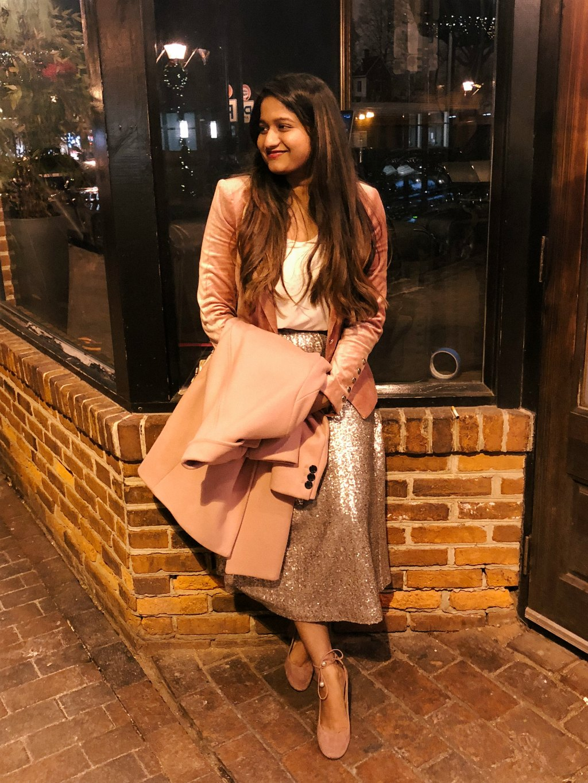 Lifestyle Blogger Surekha of dreaming loud wearing White House Black Market Velvet Blazer Jacket