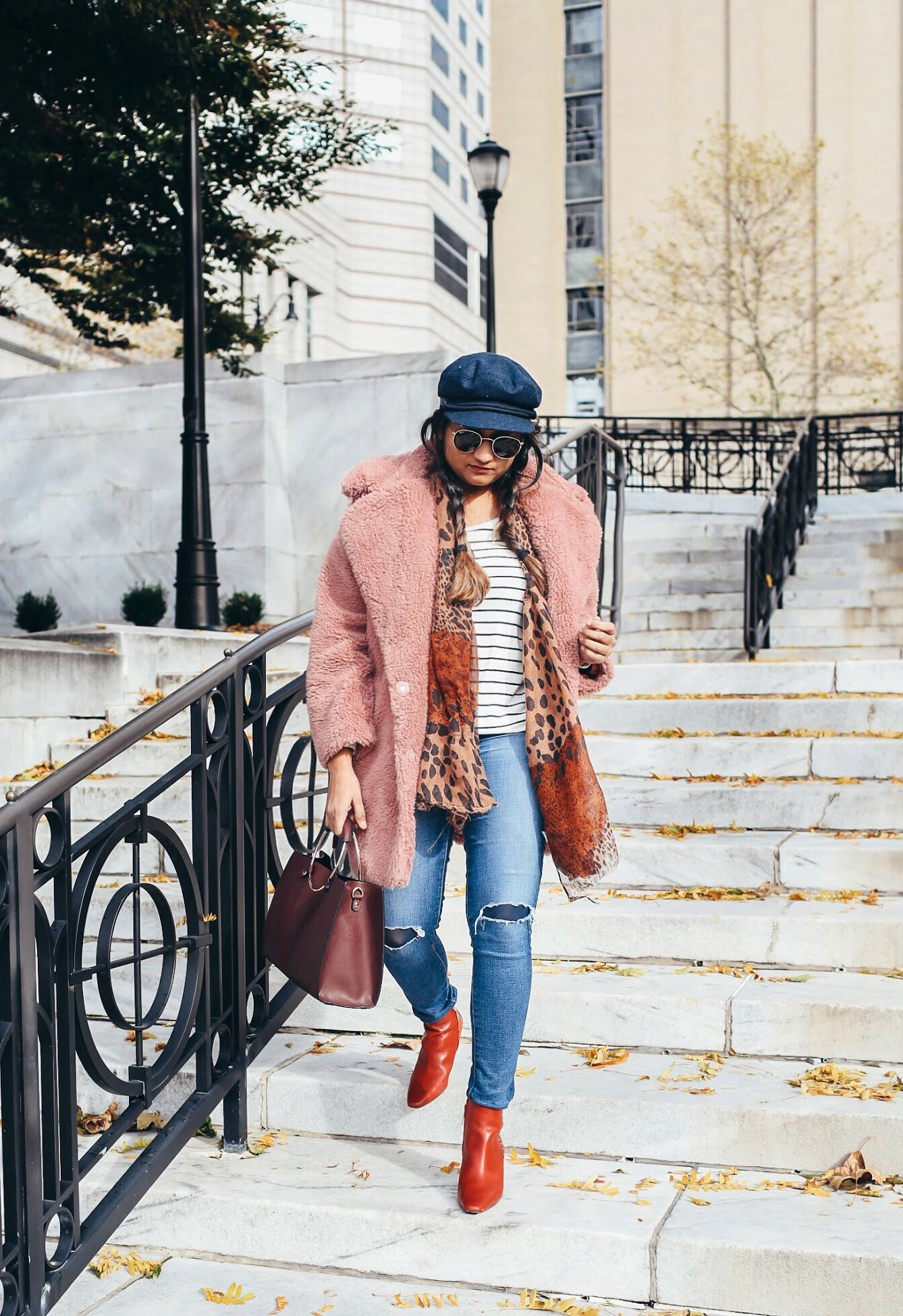 Lifestyle Blogger Surekha of dreaming wearing Ag distressed Ankle Skinny Jeans - Top Winter Coat Trends featured by popular Ohio modest fashion blogger, Dreaming Loud
