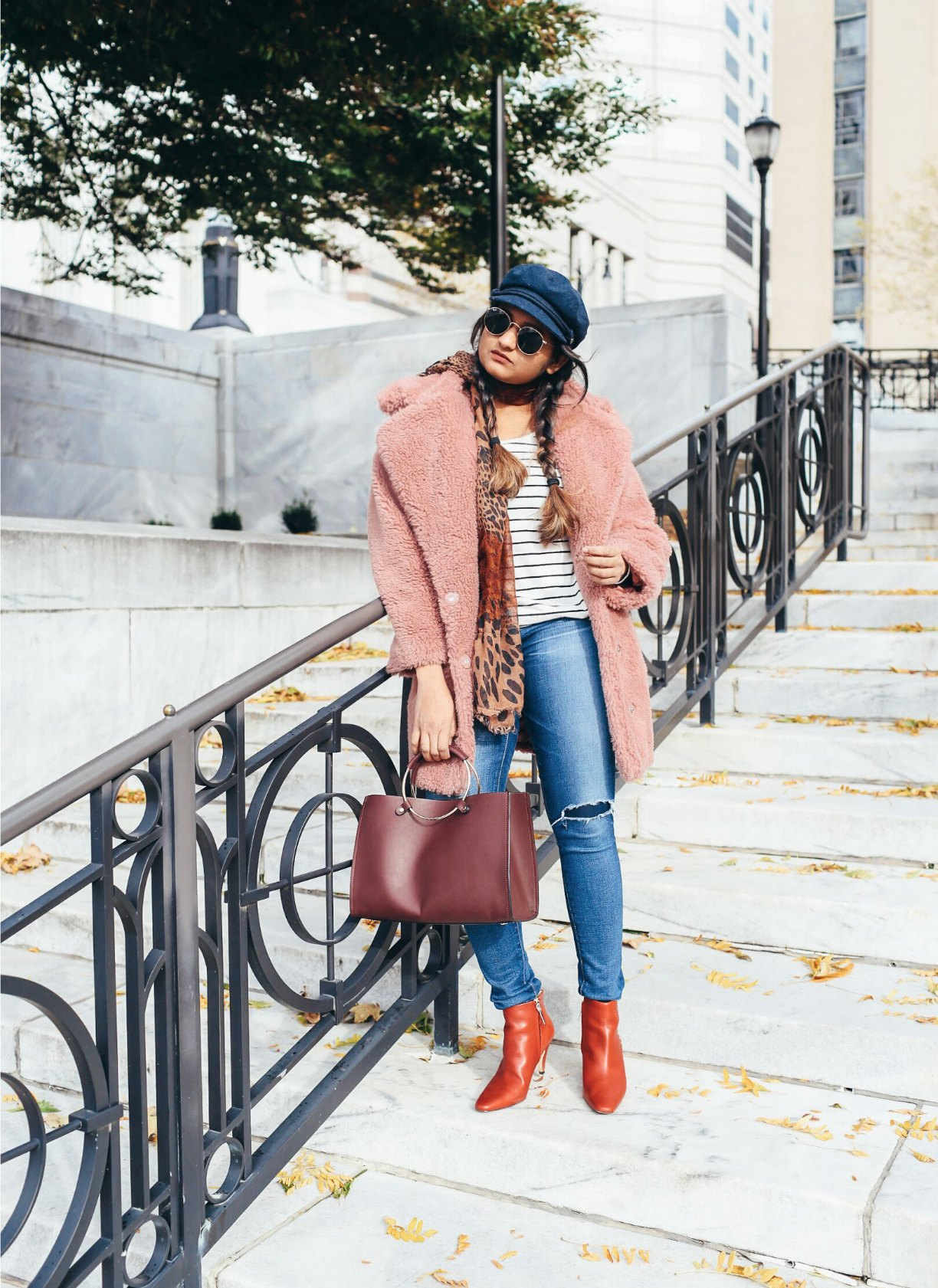 Lifestyle Blogger Surekha of dreaming wearing Topshop Borg Cocoon Faux Fur Coat - Top Winter Coat Trends featured by popular Ohio modest fashion blogger, Dreaming Loud